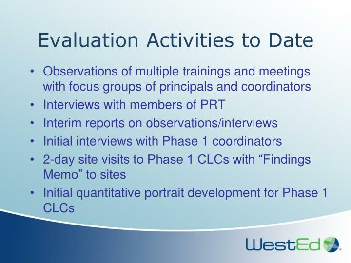 Evaluation Activities to Date