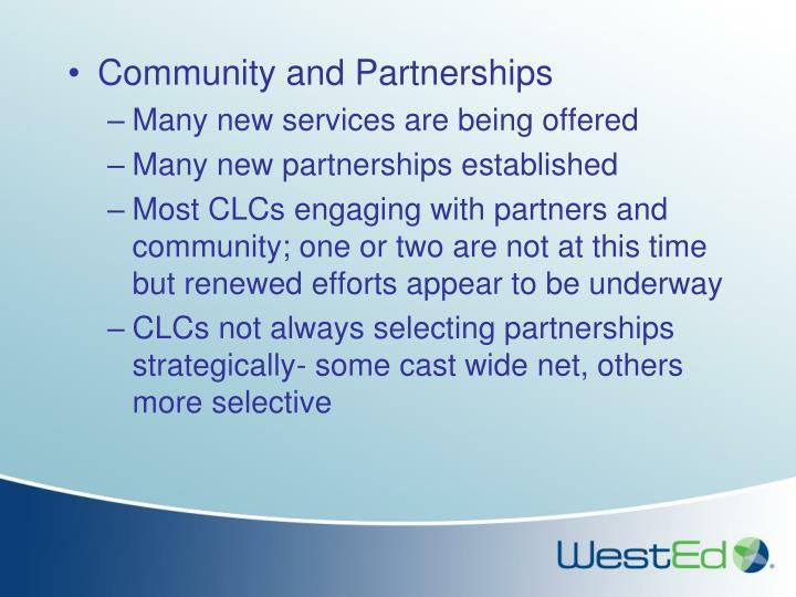 Community and Partnerships