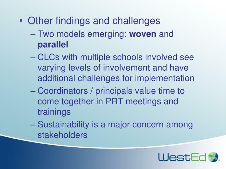 Other findings and challenges