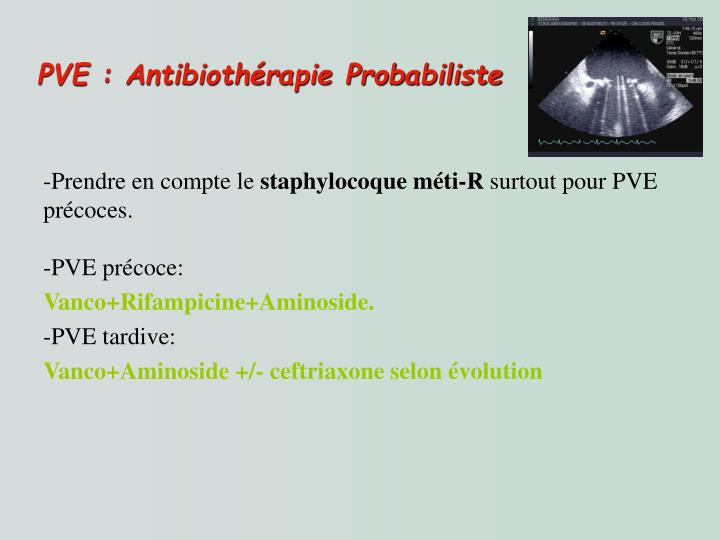 PVE : Antibiothérapie Probabiliste
