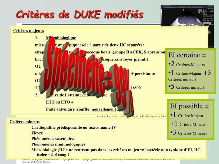 Critères de DUKE modifiés