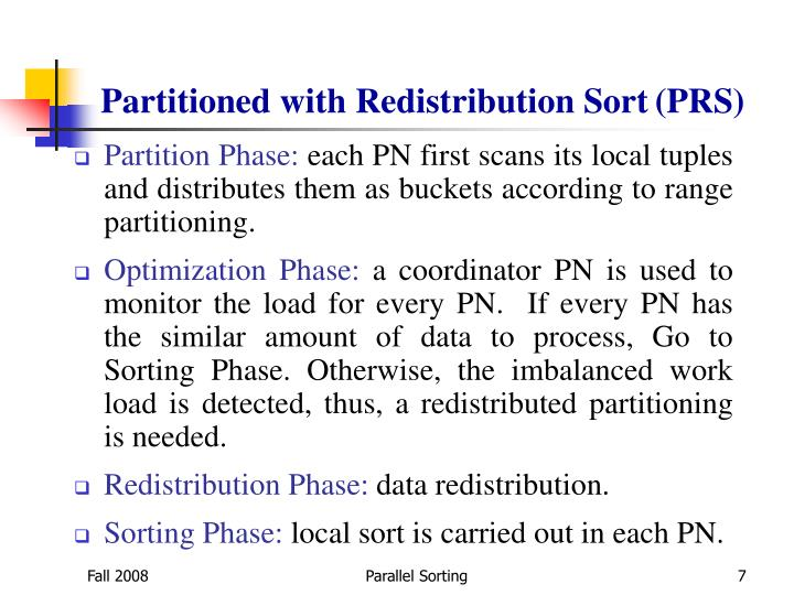 Partitioned with Redistribution Sort