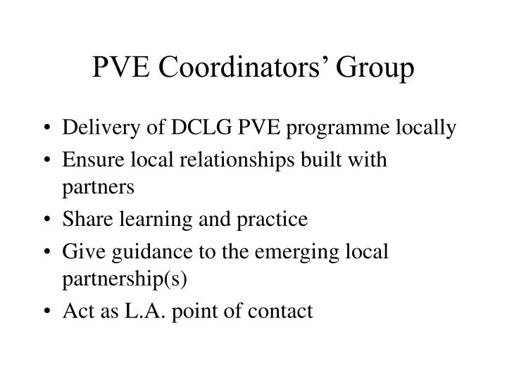 PVE Coordinators' Group