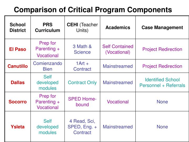 Comparison of Critical Program Components