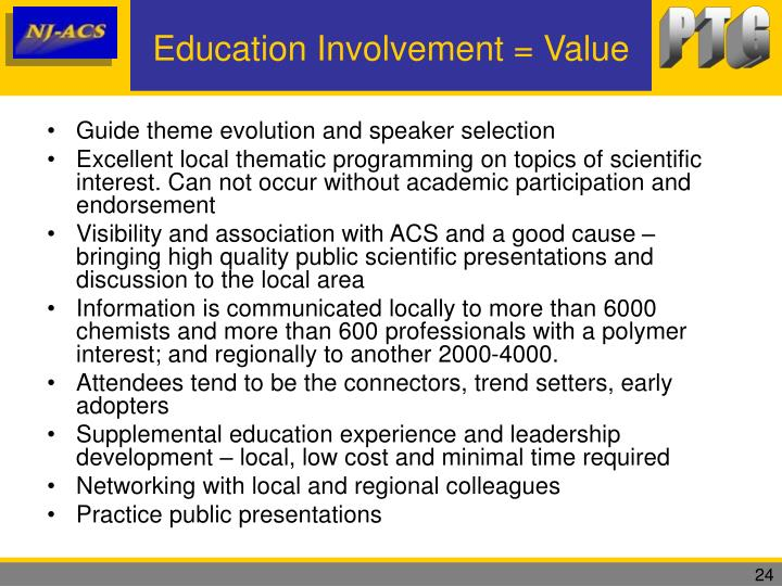 Education Involvement = Value
