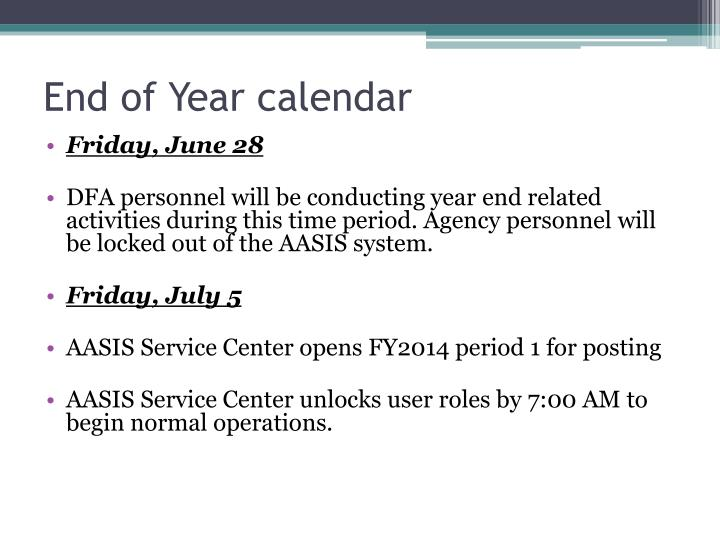End of Year calendar