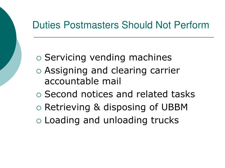 Duties Postmasters Should Not Perform