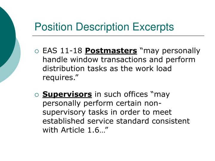 Position Description Excerpts