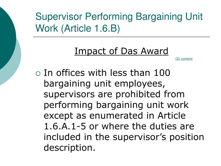 Supervisor performing bargaining unit work article 1 6 b