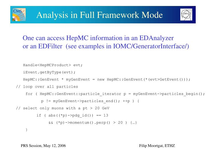 Analysis in Full Framework Mode