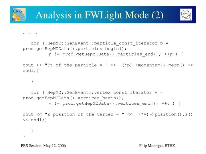 Analysis in FWLight Mode (2)