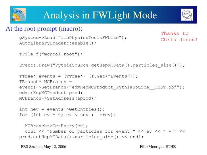 Analysis in FWLight Mode