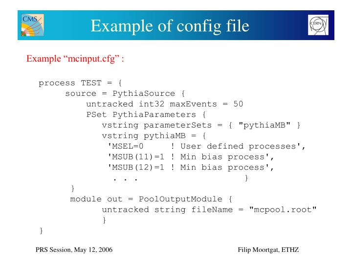 Example of config file