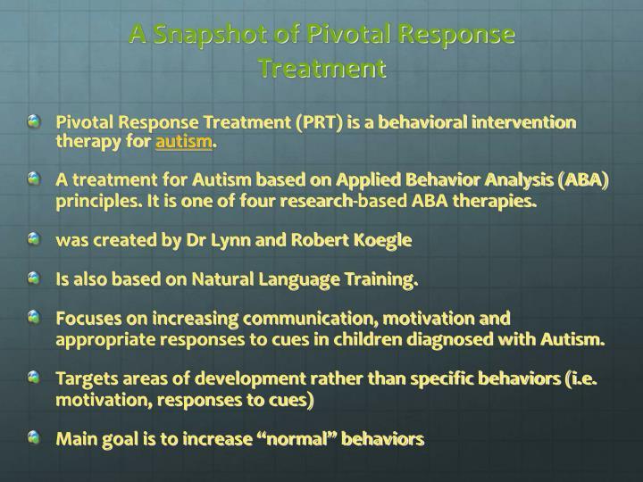 A Snapshot of Pivotal Response Treatment
