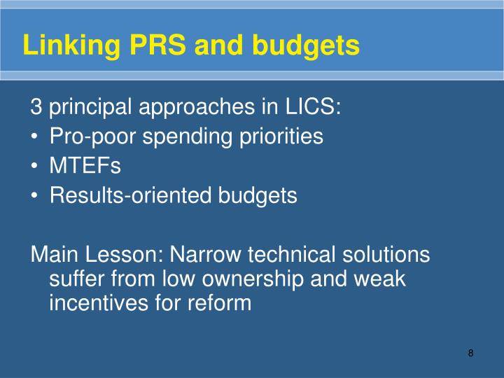 Linking PRS and budgets
