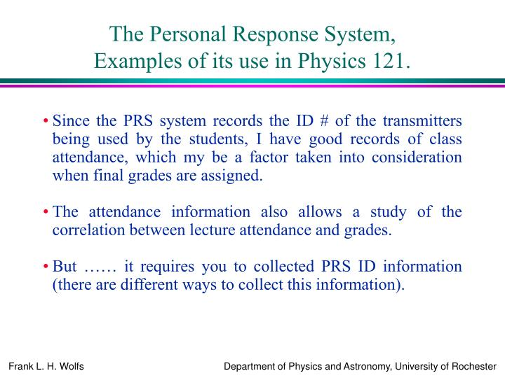 The Personal Response System,