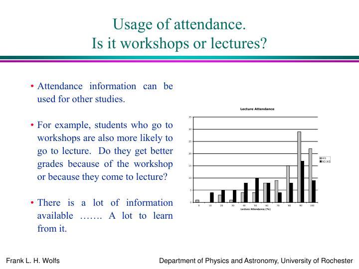 Usage of attendance.
