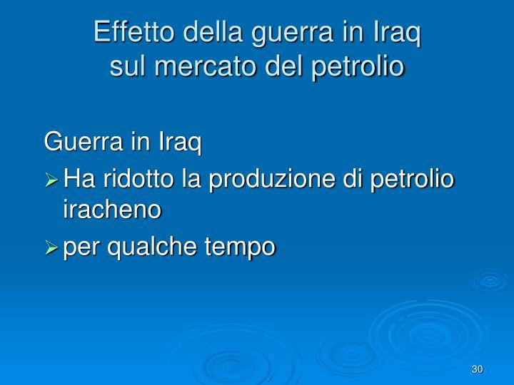 Effetto della guerra in Iraq