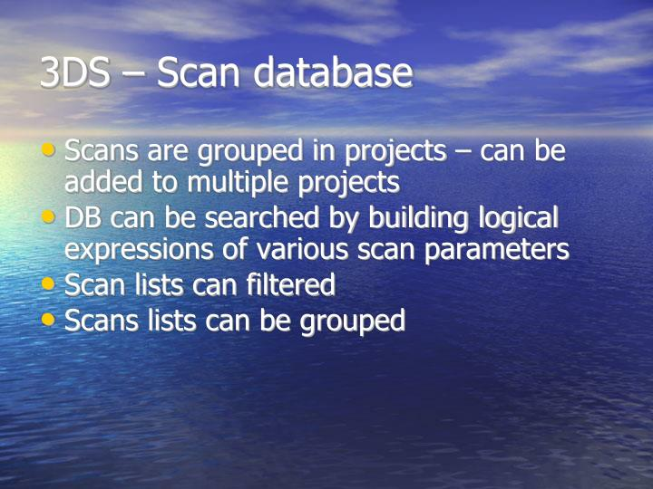 3DS – Scan database