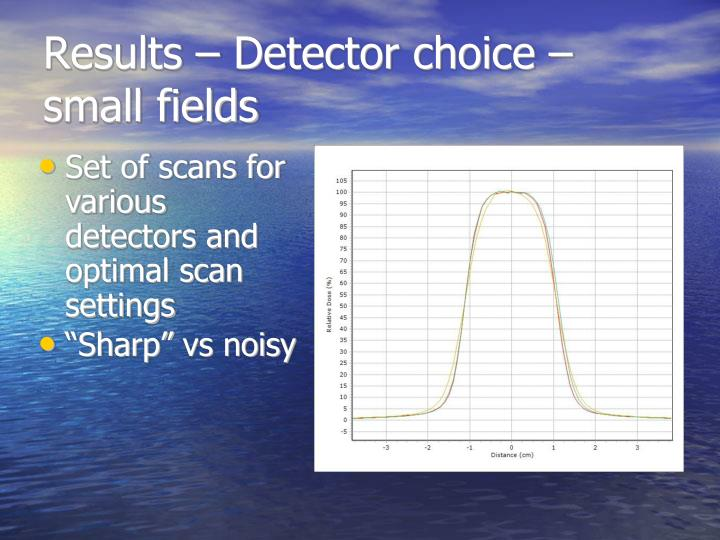 Results – Detector choice – small fields