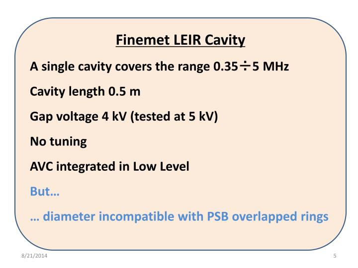 Finemet LEIR Cavity