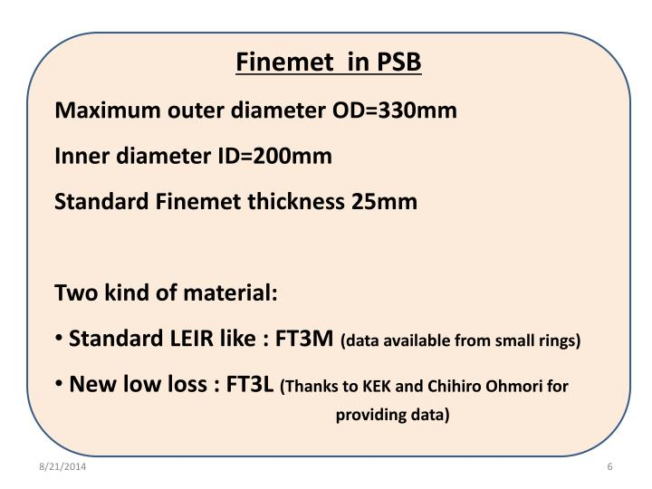 Finemet  in PSB