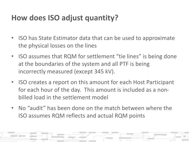 How does ISO adjust quantity?