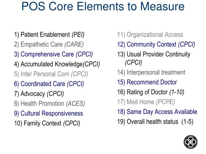 POS Core Elements to Measure