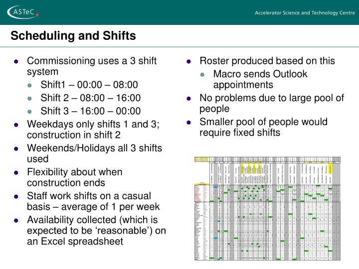 Commissioning uses a 3 shift system