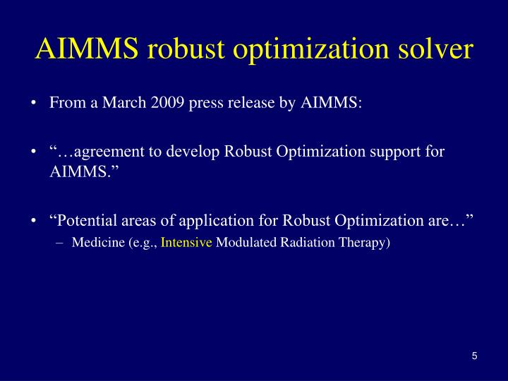 AIMMS robust optimization solver