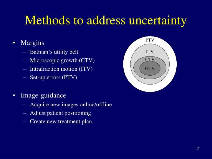 Methods to address uncertainty
