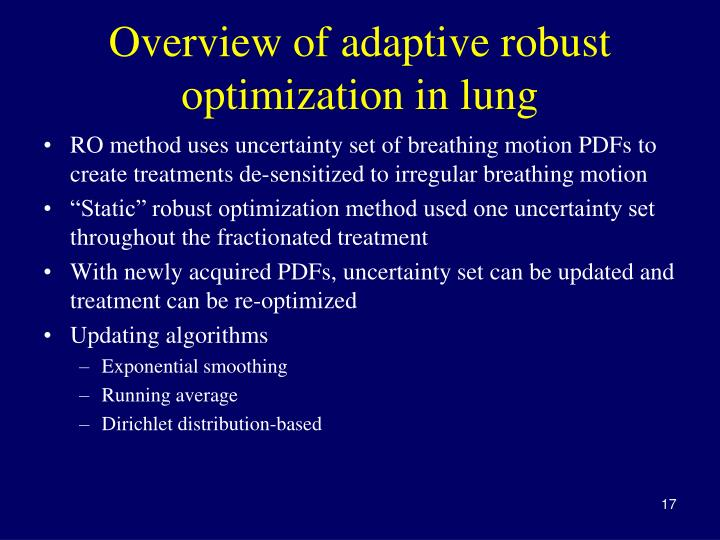 Overview of adaptive robust optimization in lung