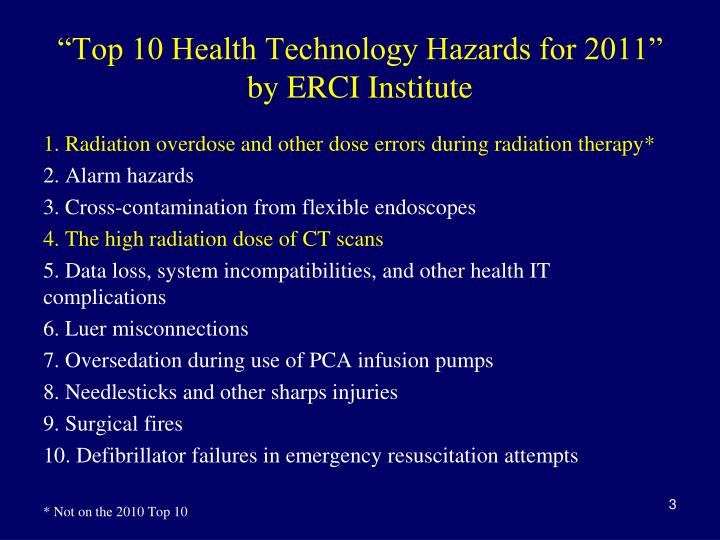 """""""Top 10 Health Technology Hazards for 2011"""" by ERCI Institute"""