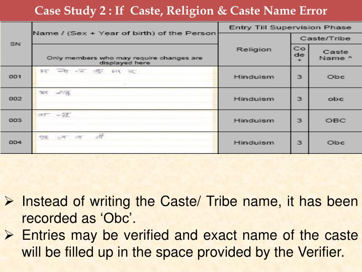 Case Study 2 : If  Caste, Religion & Caste Name Error