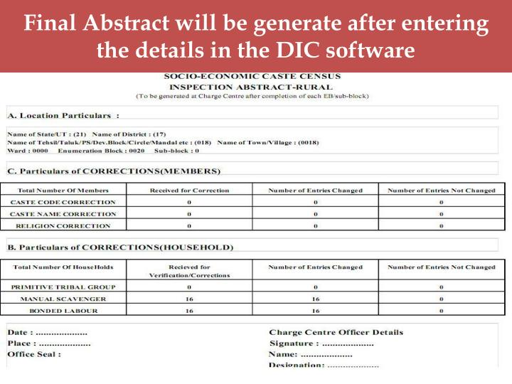 Final Abstract will be generate after entering the details in the DIC software
