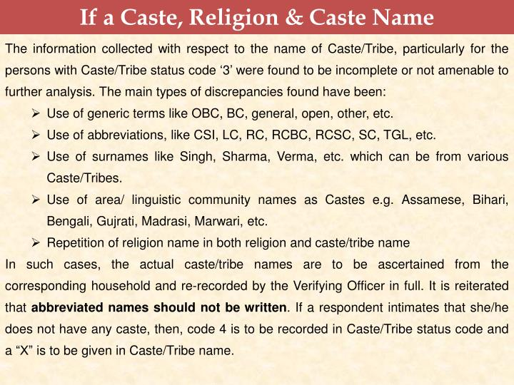 If a Caste, Religion & Caste Name