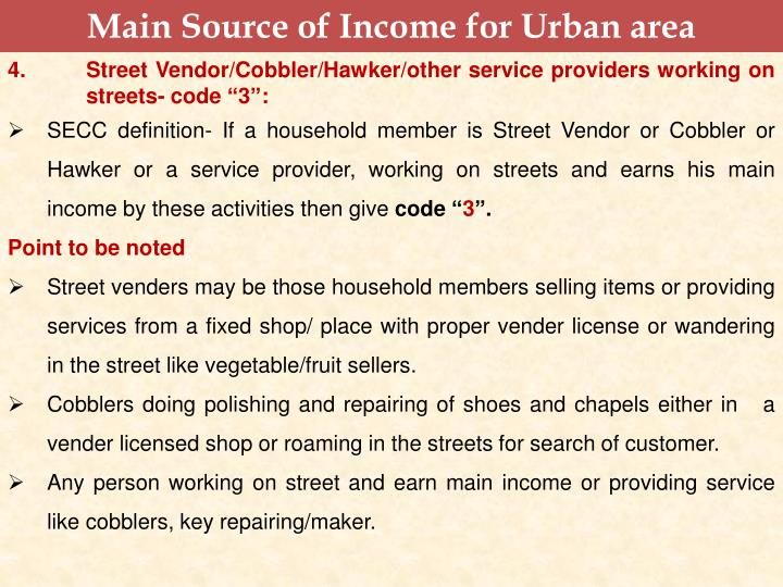 Main Source of Income for Urban area
