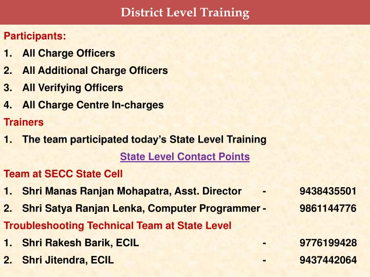 District Level Training