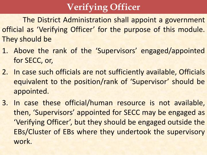 Verifying Officer