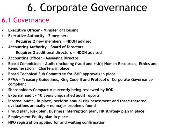 6. Corporate Governance