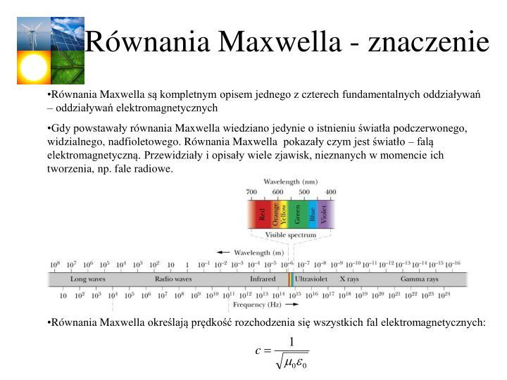 Równania Maxwella - znaczenie