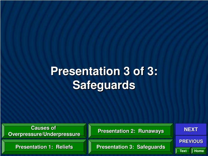 Presentation 3 of 3:  Safeguards