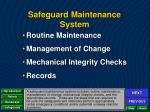 safeguard maintenance system1
