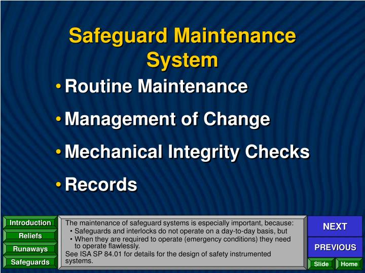 Safeguard Maintenance System