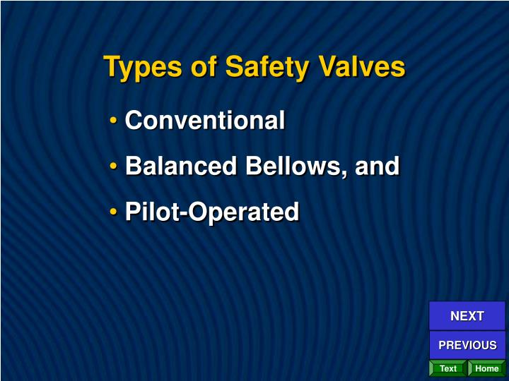 Types of Safety Valves
