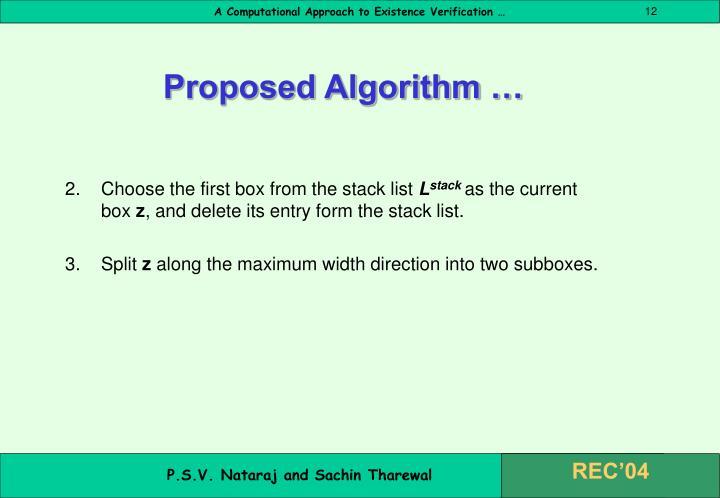 Proposed Algorithm …