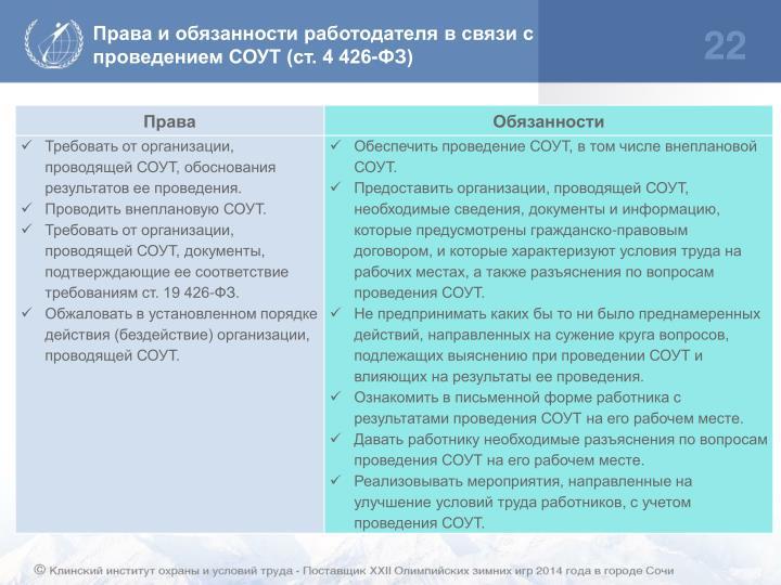 Права и обязанности работодателя в связи с проведением СОУТ (ст. 4 426-ФЗ)