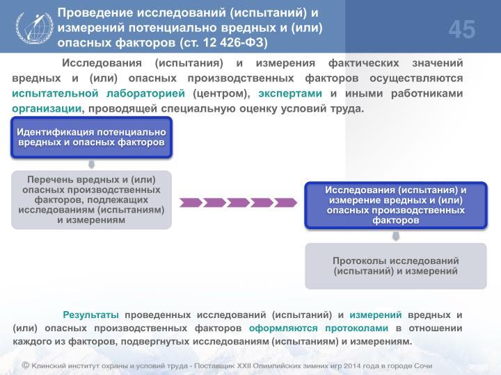 Проведение исследований (испытаний) и измерений потенциально вредных и (или) опасных факторов (ст. 12 426-ФЗ)