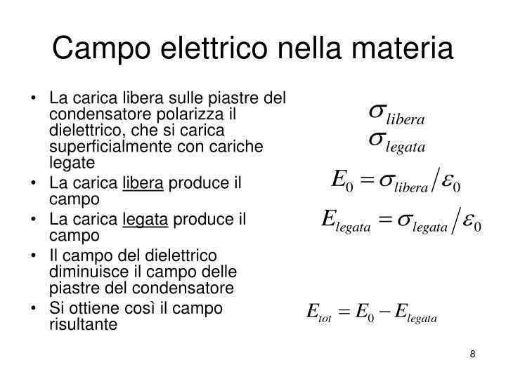 Campo elettrico nella materia
