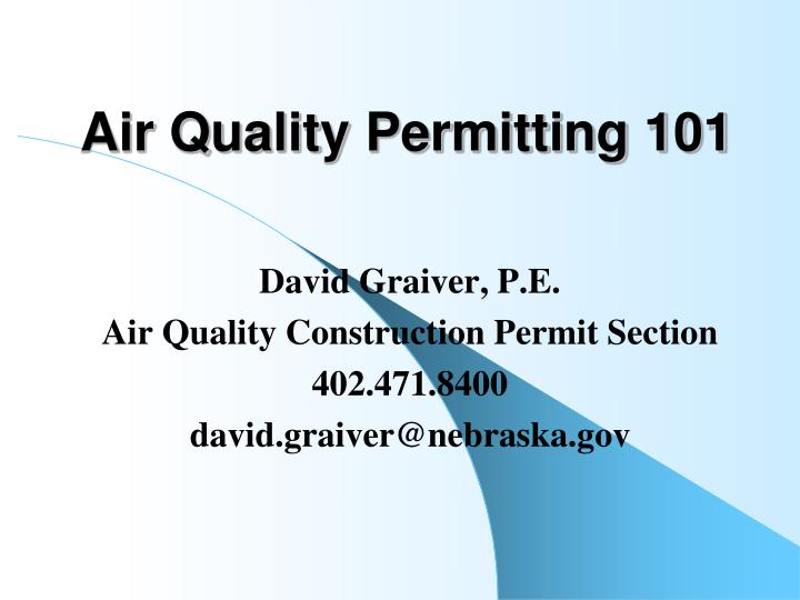 Air quality permitting 101